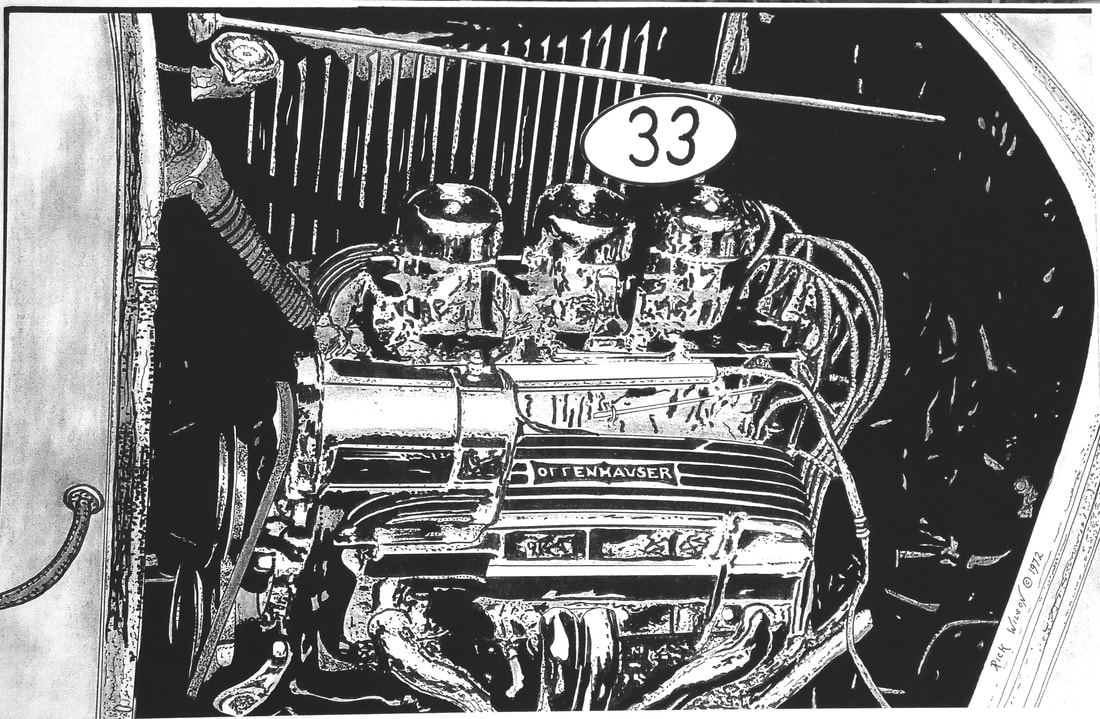 Page 6 Custom Car Hot Rod Drag Racing Art Prints By Rick Wilson 1954 Chevy Chopped And Bagged Rat 283 With Three 2s In A 32 Deuce Coupe